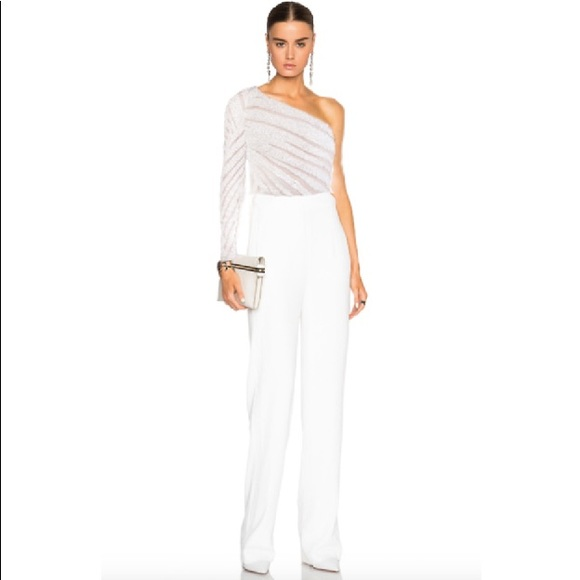 Elie Saab Pants | 6450 Palm Embroidered White Jumpsuit ...